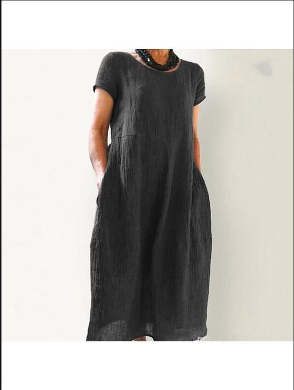 Women Linen Cotton Casual Solid Round Neck Dresses