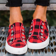 Women Canvas Plaid Flats Casual Shoes Loafers