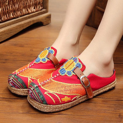 Women Embroidery Shoes National Sunflower Buckle Cloth Shoes