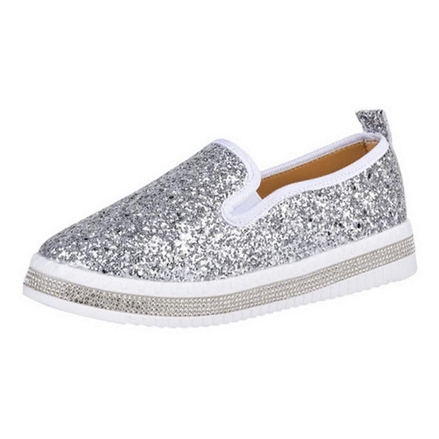 Women Shoes Paillette Rhinestone Flats Loafers