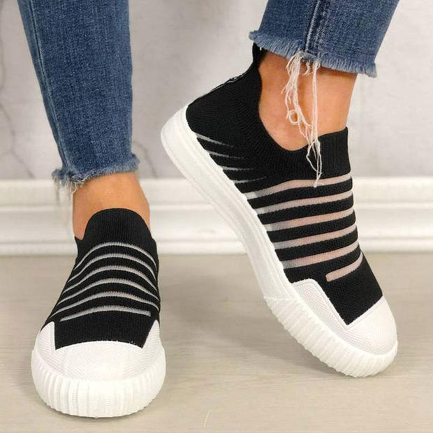 Women Slip-on Fly-Woven Breathable Casual Shoes