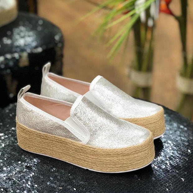 Women Casual Canvas Shoes Platform Loafers
