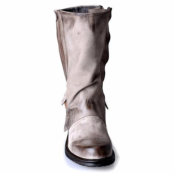 Women's Leather Buckle Retro Knight Boots