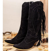 Women's Plus Size Pointed Toe Tassel Thick Heels Mid-Calf Cowboy Boots