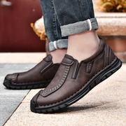 Men Hand Stitching Cowhide Leather Non Slip Soft Sole Business Casual Shoes
