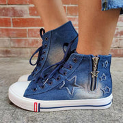 Cowgirl High-top Side Zipper Lace-up Casual Shoes