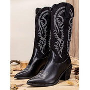Women Embroidered Pointed Toe Chunky Heel Slip-on Western Knee Cowboy Boots