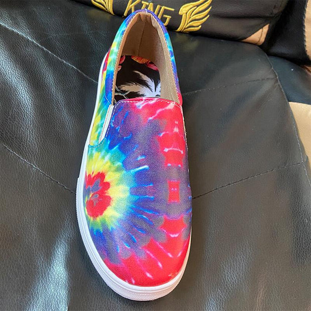 Women Tie-dye Printing Wearable Casual Slip On Flat Shoes