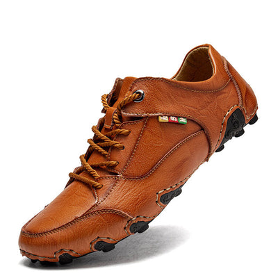 Men Hand Stitching Leather Comfy Non Slip Soft Casual Driving Shoes