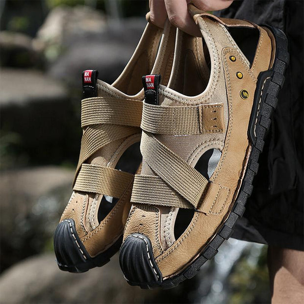 Men Closed Rubber Toe Cap Hook Loop Hole Leather Sandals