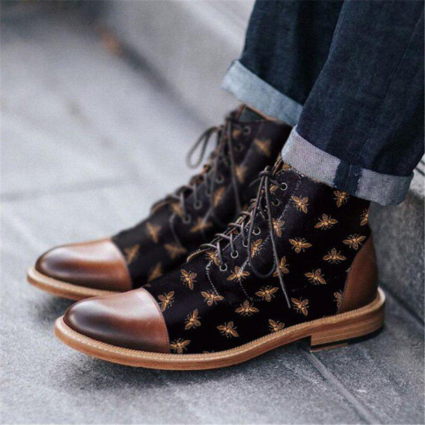 Men Retro Bee Lace-up Ankle Boots