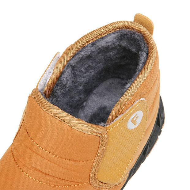 Men Waterproof Cloth Warm Slip Resistant Hook Loop Snow Ankle Boots