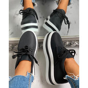 Women's Casual Colorblock Platform Lace-Up Sneakers