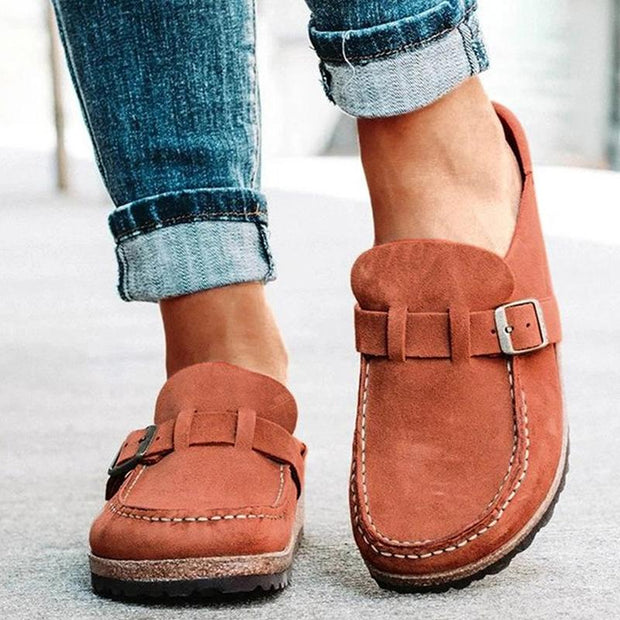 Plus Size Women Casual Comfy Suede Large Round Toe Backless Flats