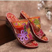 Retro Bohemian Floral Confortable Wedge Sandals