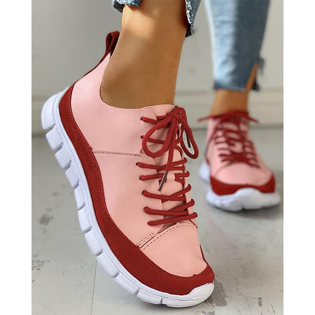 Women Lace-Up Suede Insert Sneakers