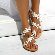 Women Sweet Flowers Decor Toe Ring Casual Falt Strappy Sandals