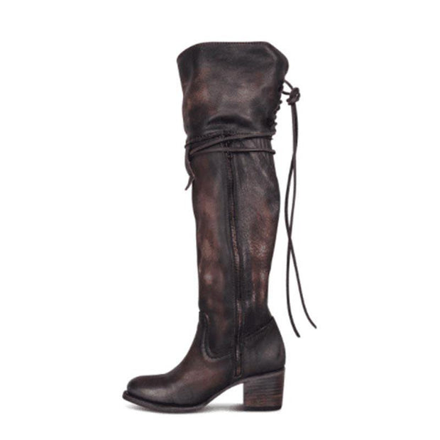 Women's Casual Plain Side Zipper Chunky Heel Round Toe Boots