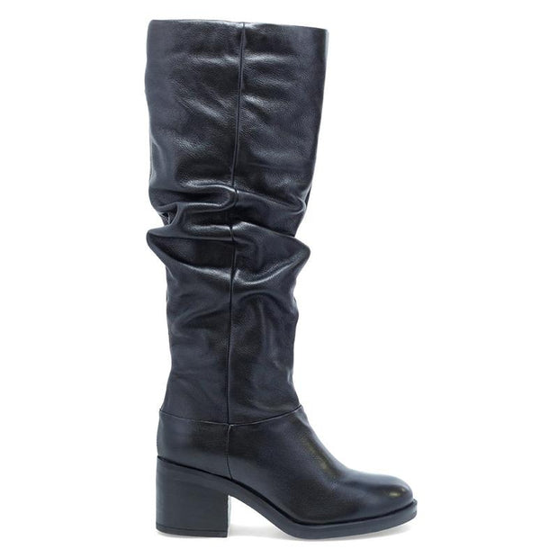 Ladies Leather Knee High Crinkle Heeled Boots
