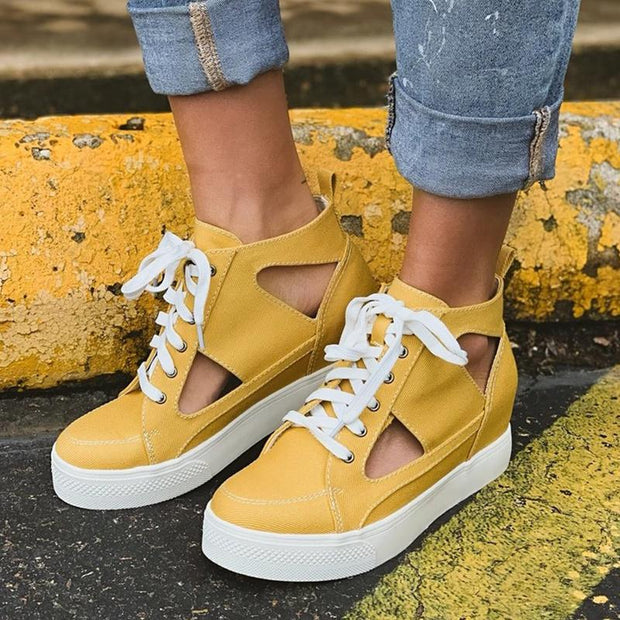 Women Lace Up Wedge Hollow Leopard Canvas Casual Shoes