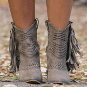 Women Fringe Leather Pointed-Toe Mid-Calf Boots