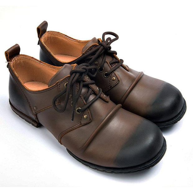 Men Handmade Genuine Cow Leather Lace-Up Boots