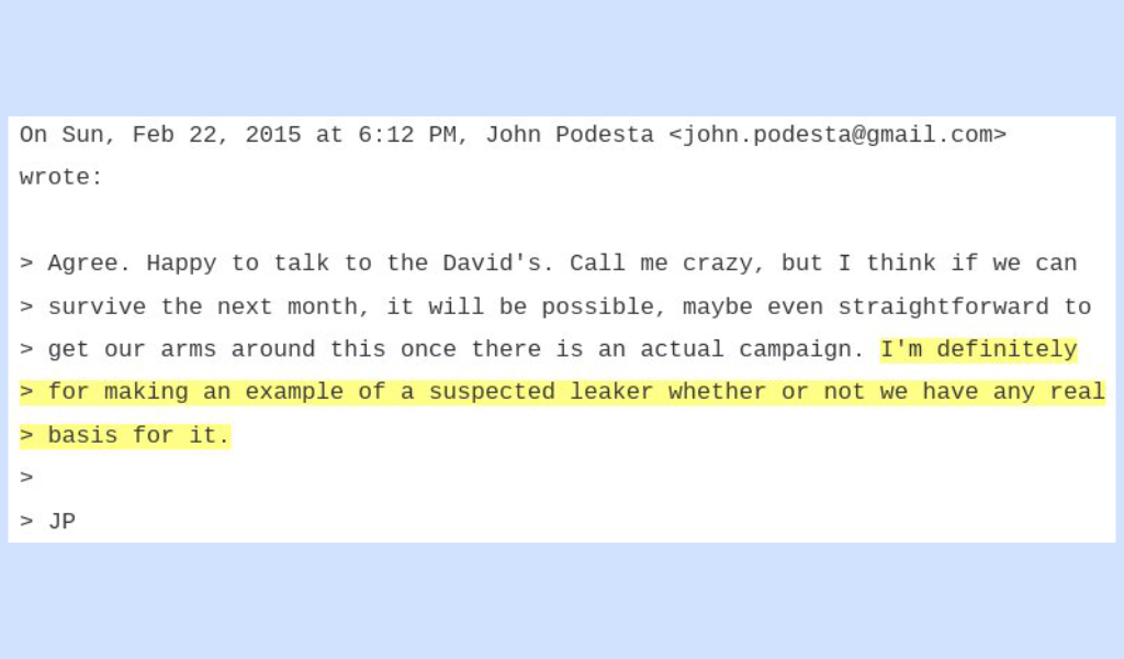leaked John Podesta DNC email on Seth Rich conspiracy