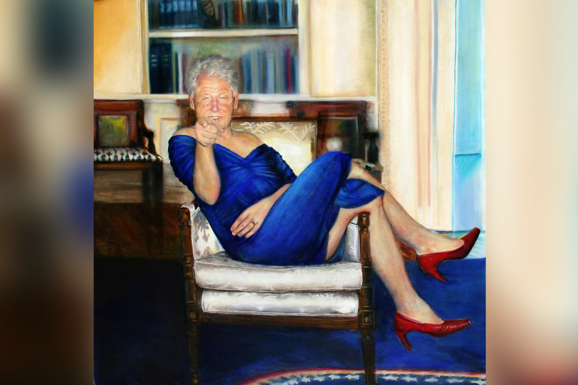 conspiracy about Bill Clinton in blue dress from a painting at Jeffrey Epstein's island