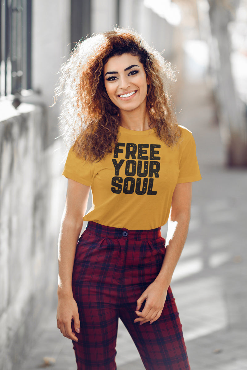 girl wearing a t-shirt that says free your soul