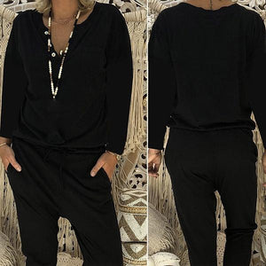 Women Casual Long Sleeve Fall Plus Size Jumpsuits