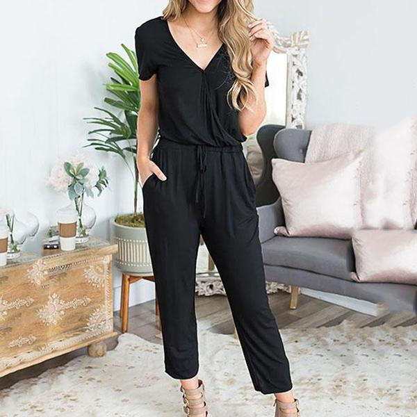 Casual Solid Color Daily Jumpsuits
