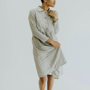 Sweet Casual Lapel Neck Button Dresses
