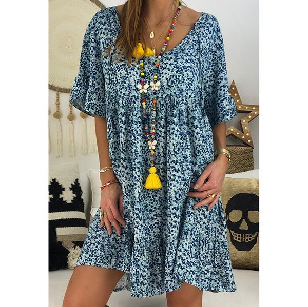 Plus Size Printed Loose Dress