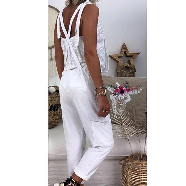 Women's Solid Color Lace Jumpsuit