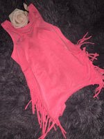 Toddler pink fringe tank top