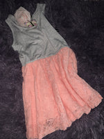Toddler gray / peach lace detail dress