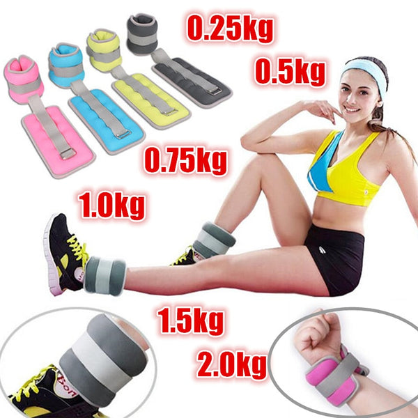 1 Pair 0.25kg-2kg Adjustable leg Ankle Wrist Sand Bag