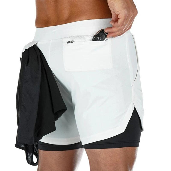 Summer Running Shorts Men 2 in 1 Sports Jogging Fitness Shorts