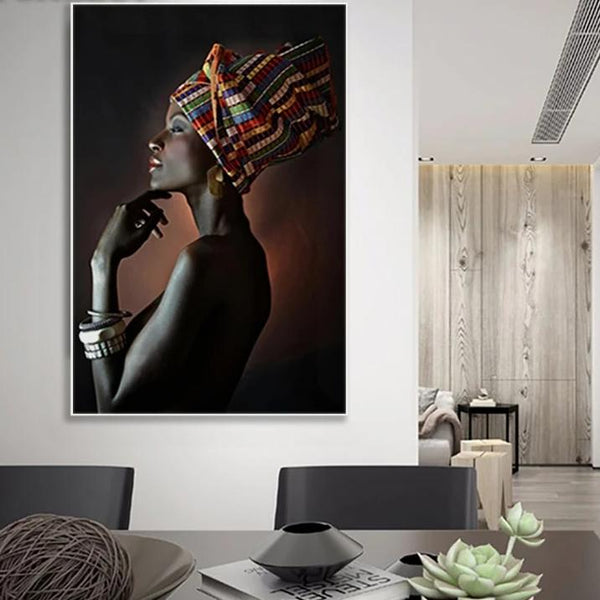 African Wall Art Poster And Prints Elegant Black Women Canvas Painting