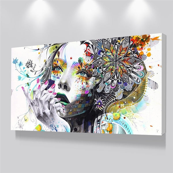 Abstract Beautiful Flower Girl Poster Canvas Wall Art Posters Painting