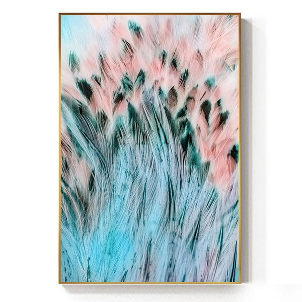 Abstract Beautiful Green Pink Feather Canvas Painting