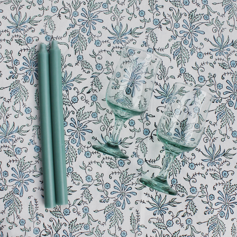 Block Print Tablecloth (Aqua)