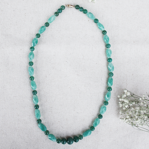 Vintage Beaded Necklace (Green Blue)