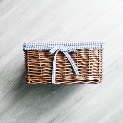 Vintage Gingham Wicker Basket