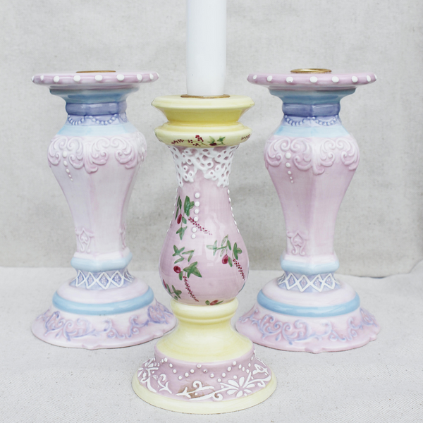 Vintage Hand Painted Candle Holders (Set of 3)