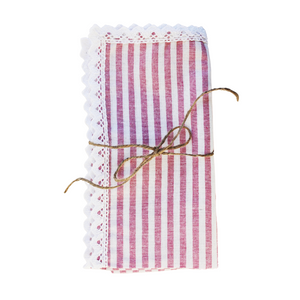 Pink Stripe Napkin with Lace (Set of 4)