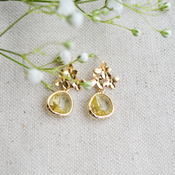Citrine Cherry Blossom Earrings