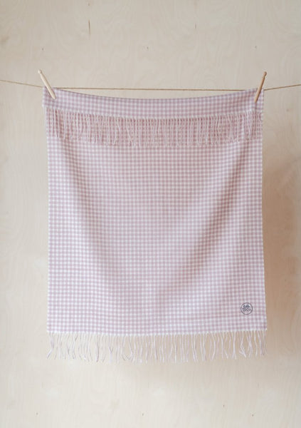 Super Soft Lambswool Baby Blanket in Dusky Pink Gingham