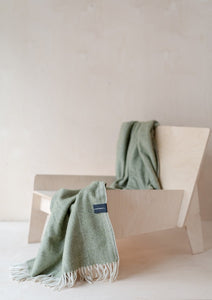 Recycled Wool Knee Blanket in Olive Herringbone