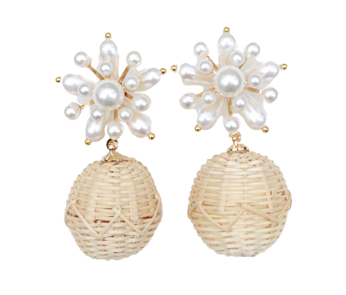 Starburst Rattan Drop Earring